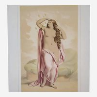 Nude Portrait of Danae from Greek Mythology - 19th Century Antique Watercolor Lithograph