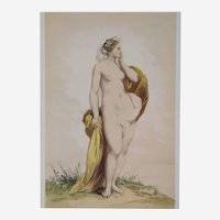 Nude Portrait of Cyane from Greek Mythology - 19th Century Antique Watercolor Lithograph