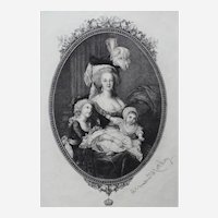 Portrait of Marie Antoinette with Childred Antique Engraving, 19th Century after painting by Le Brun