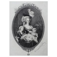 19th - Portrait of Marie Antoinette with Childred, Engraving after oil painting by French artist Le Brun