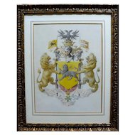 19th - French Coat of Arms Watercolor Painting, Heraldic Family Crest with two Golden Lions