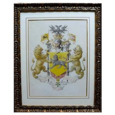 French Coat of Arms Watercolor Painting, 19th Century Heraldic Family Crest with two Golden Lions