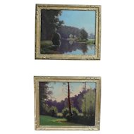 1940s - French Mid Century Landscape Oil Paintings of a Forest and Lake, signed Stephane Ravier