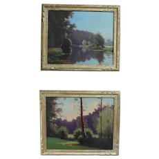 French Mid Century Landscape Oil Paintings of a Forest and Lake, 1940s signed Stephane Ravier