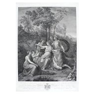 19th - Greek Mythology Large Engraving of Zeus seizing Europe, after Italian oil Painting by Andrea Appiani