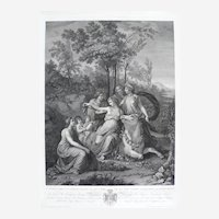 Large Antique Etching of Zeus Raping Europe, 19th Greek Mythology Print after Italian painting by A. Appiani