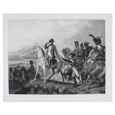 19th - Napoleon Bonaparte on a Horse Large Engraving, War Battle Scene of Wagram after a French oil Painting of Horace Vernet