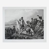 Napoleon Bonaparte on a Horse at Wagram, 19th Large Antique Etching after Painting of Vernet
