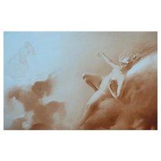 Luis Ricardo Falero - 1885 Antique Photogravure of a Nude Woman on a Cloud