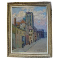 Paris City Street Landscape oil Painting, 1911 Signed by Russian Painter Pospolitaki