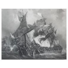 19th - War Ship during a Naval Battle Large Engraving, after Military French oil Painting of Garneray