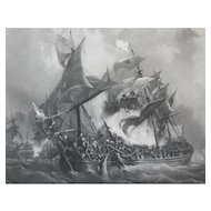 War Ship during a Naval Battle Large Antique Etching, 19th C. after Military Painting of Garneray