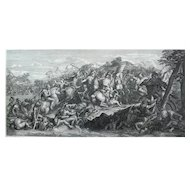 18th Century - Alexander The Great on a Horse during a War Battle Engraving, after French painting by Charles Le Brun