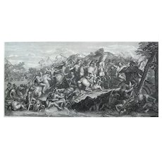 Alexander The Great on a Horse, 18th Century Battle Etching, after painting by Charles Le Brun