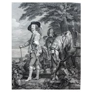 18th Century - Charles I King of England Hunting Engraving, after Flemish oil Painting by Anthony Van Dyck