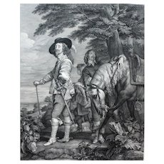 Charles I King of England Hunting 18th Century Engraving, after Flemish Painting by Van Dyck
