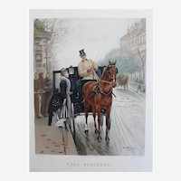 Fashion Woman in a Horse Carriage in Paris, 19th C. Watercolor Print after painting by J. Beraud