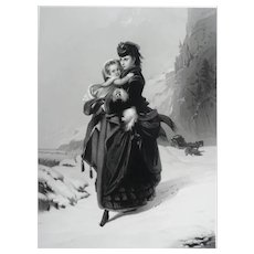 19th - Very Large Portrait Engraving of a Woman in the Snow Holding a Child, after French oil Painting by Constant Brochart
