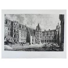19th- Medieval French Castle, Large Architecture Etching Print