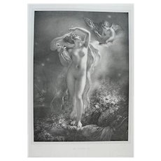Nude Goddess Danae from Greek Mythology Lithograph, 19th C. French print after painting by Girodet