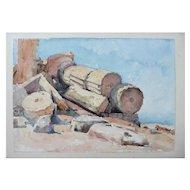 19th - Ancient Greece Antique Columns, Landscape watercolor painting by French painter Laparra