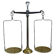 19th - French Antique Balance Scale made of Brass and Bronze, Justice Scale Decor