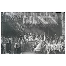 19th - Rare & Very Large Queen Victoria Coronation Antique Etching, after English Antique oil Painting by George Hayter
