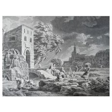 18th Century - Seascape Storm Etching, after Classic French Antique oil painting by Joseph Vernet