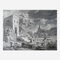 Seascape view of a Storm 18th Century Etching, French print after Classic painting by Joseph Vernet