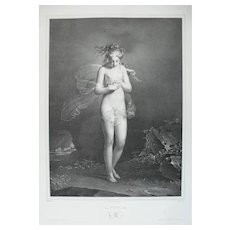19th - Nude Psyche from Ancient Greek Mythology Antique Lithograph, after French painting by Claude Dubufe
