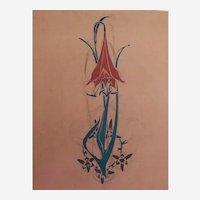 Botanical Flower Gouache and Pencil Painting, 1900 Art Nouveau Style
