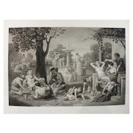 Very Large Antique Etching of Ancient Greece Genra Scene, 19th French print after Painting by P. Maison