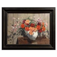 19th, Original Still Life Antique Oil Painting of a Flower Bouquet by French Painter Roblin