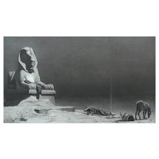Egyptian Sphinx Statue Large Antique Etching, 19th C. French print after painting by Merson