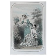 Fashion Women in Dresses picking Flowers, 19th C French Antique Colored Lithograph