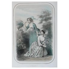 19th - Fashion Women in Dresses picking Flowers, French Antique Colored Lithograph