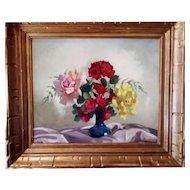 Still Life oil Painting of a Flower Bouquet, 1950s Belgium School