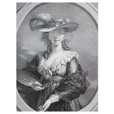 Female Portrait of Vigee Le Brun in a Hat, 18th Century Engraving