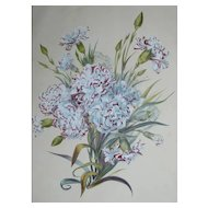 French Botanical Flower Watercolor Lithograph Print 19th Century