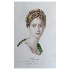 Female Portrait entitled America Antique Watercolor Etching, 19th C. after a Drawing by French artist Lemire
