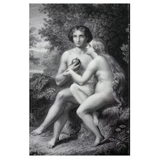 Adam & Eve from Paradise Lost Antique Engraving, 19th C print after Biblical Painting by J.Melin