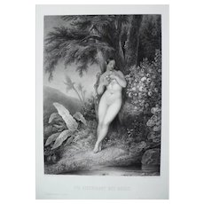 19th - Nude Eve leaning on a Tree Engraving, after Biblical oil Painting by French Artist Richomme