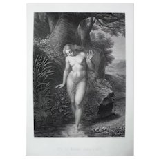 Nude Eve in Forest Antique Etching, 19th print after Biblical Painting by Richomme