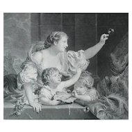 Woman with Childred Antique French Engraving, 19th C Print after Painting by Bernard