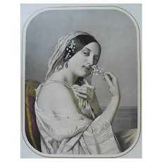 19th - Victorian Style Female Portrait with Flower Lithograph, after French antique oil Painting by Cazes