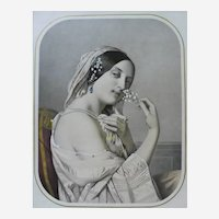 Victorian Female Portrait Antique Lithograph, after French Painting by Cazes, 19th C