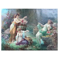 1900 - Greek Mythology Nymphs in a Forest, Large Chromolithograph Print