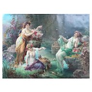 Greek Mythology Nymphs in a Forest, 1900 Large Chromolithograph Print