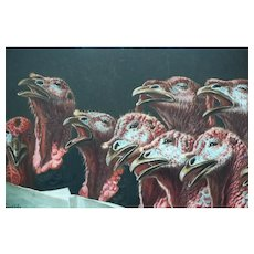 Turkeys in Chorus, 19th Century Satirical Antique Photogravure after painting by August Schenck