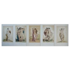 19th - Set of 5 Antique Lithographs of Greek Mythology Gods, drawn and painted by french arist Achille Deveria